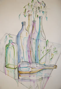 Watercolour - painting of bottles