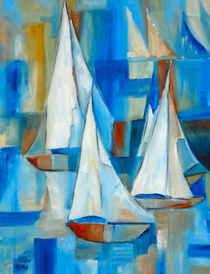 Acylic Painting - Sailing Boats