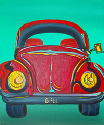 Volkswagen Beetle - VW - Picture painted by Giselle