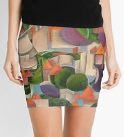 Pencil Skirt - Green Scape