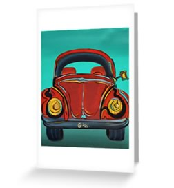 VW - Beetle Greeting Card by Giselle