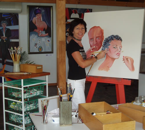 Giselle Artist - Painting demonstration - Art Studio Canungra
