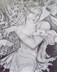 Lady with flowers - pencil drawing