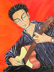 The Guitar Player - Acrylic Painting by Giselle - Canungra -Australia