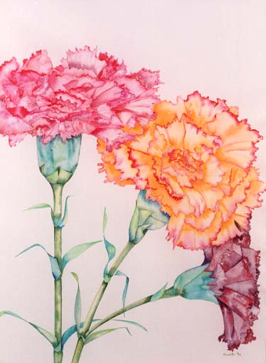 Ikebana, painting by Giselle, Studio, Gallery Giselle ... Apricot