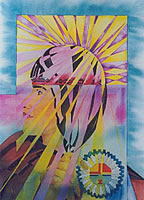 Indian - Sun Spirit Girl - Painting
