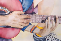 Guitar Player - Slowhand - Painting by Giselle
