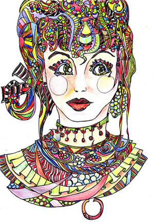 colouring in template face coloured in - Colouring In Images