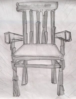 the chair - graphite drawing