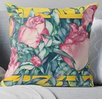 Rose Buds Pillow by Giselle -Artist