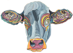 Cow Portrait - Painting by Giselle