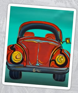 Volkswagen - VW - Beetle Sticker by Giselle Art Studio