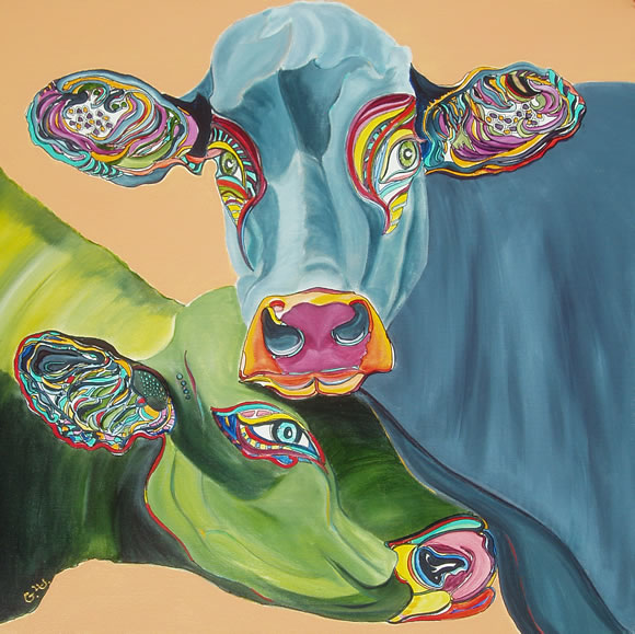 Cow Picture - 2 cows - coupling - painting by Giselle