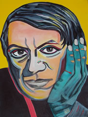 Picasso Portrait by Giselle - Blue Hand Contemplation