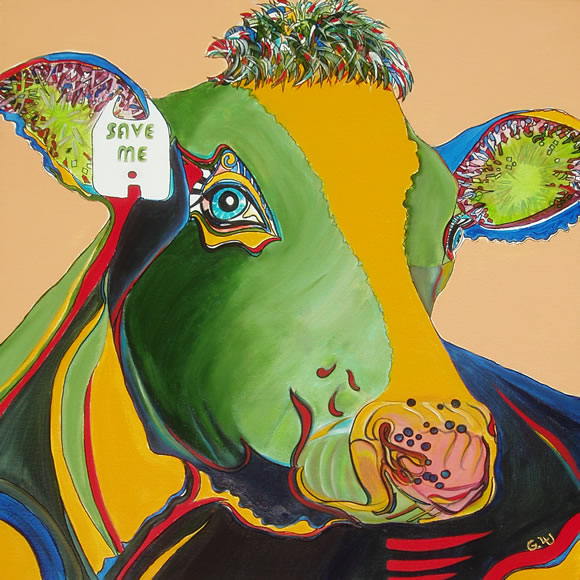 Portrait of an Activist Cow - Save Me - by Giselle